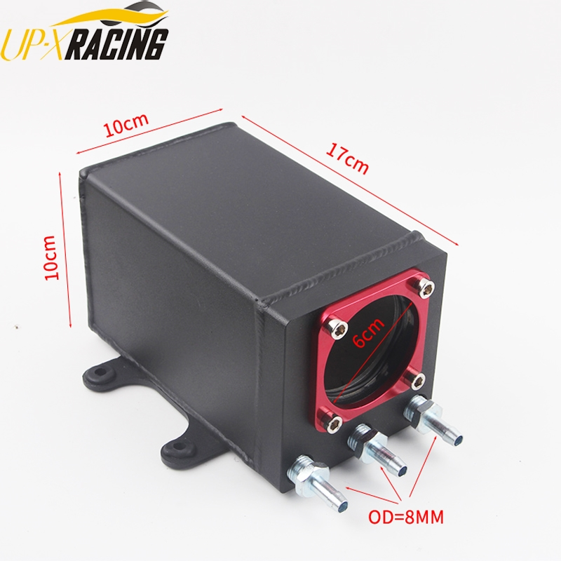 60mm  port external 044 fuel pump tank racing black Billet aluminium with fitting oil catch can fuel surge tank60mm  port external 044 fuel pump tank racing black Billet aluminium with fitting oil catch can fuel surge tank