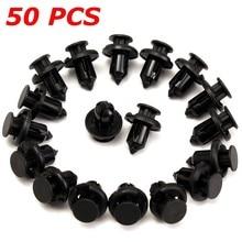50 шт. 10 мм отверстие автомобильный бампер/крыло пластиковые нажимные заклепки Крепежные Зажимы для Honda черный автомобиль Стайлинг