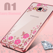 For Samsung Galaxy A3 A3000 2015 Phone Case Secret Flower Diamond Plating Back Cover For A3