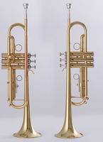 Trumpet Gold lacquer Brass body Rose brass lead pipe Stainless steel Valves