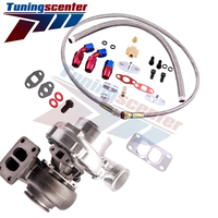 Universal T70 Turbo T3 V band Flange 0.70 A/R + Oil Drain Return FEED Lines Kit for 1.8L 3.0L Turbo Charger 500HP oil cooled
