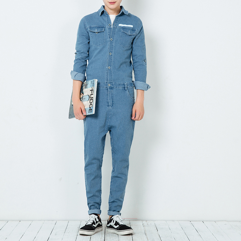 ФОТО 2017 new spring autumn mens jumpsuit overalls jeans fashion hiphop long sleeve a piece trousers male casual denim jumpsuit