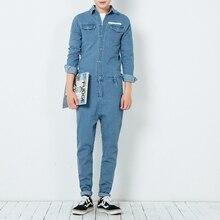 2017 новый весна осень мужские комбинезон комбинезоны джинсы мода хип-хоп с длинным рукавом кусок брюки мужские случайные джинсовой комбинезон