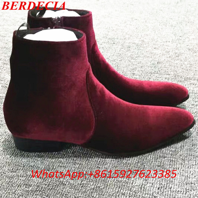 54578f60fa540c Botas Masculina Runway Fashion Wine Red Velvet Boot Men Leather Boots Side  Zip Wyatt Ankle Boots Street Fashion Men Shoes Fall