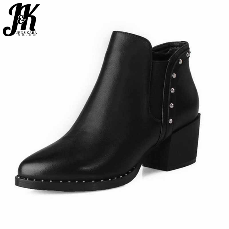 ФОТО New Fashion Genuine Leather Ankle Boots Elegant Chunky Heels Rivets Shoes Woman Add Fur Autumn Winter Boots For Ladies