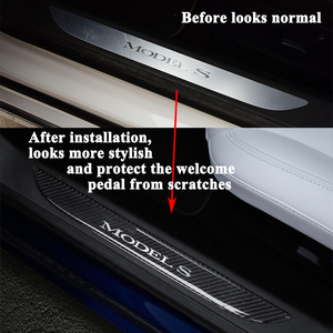 Image 2 - 2pcs/set Styling Carbon Fiber Car Front Door Sill Welcome Pedal Decoration Sticker Protector Cover Accessories for Tesla Model S