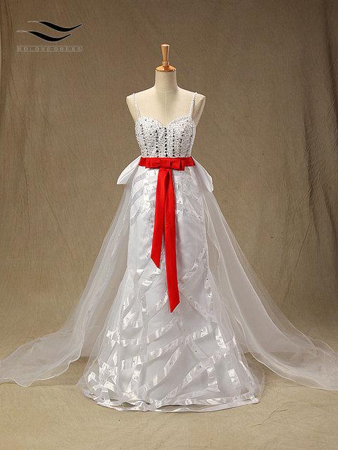 Floor Length Mermaid Sweatheart Wedding dresswith Detachable Train ...