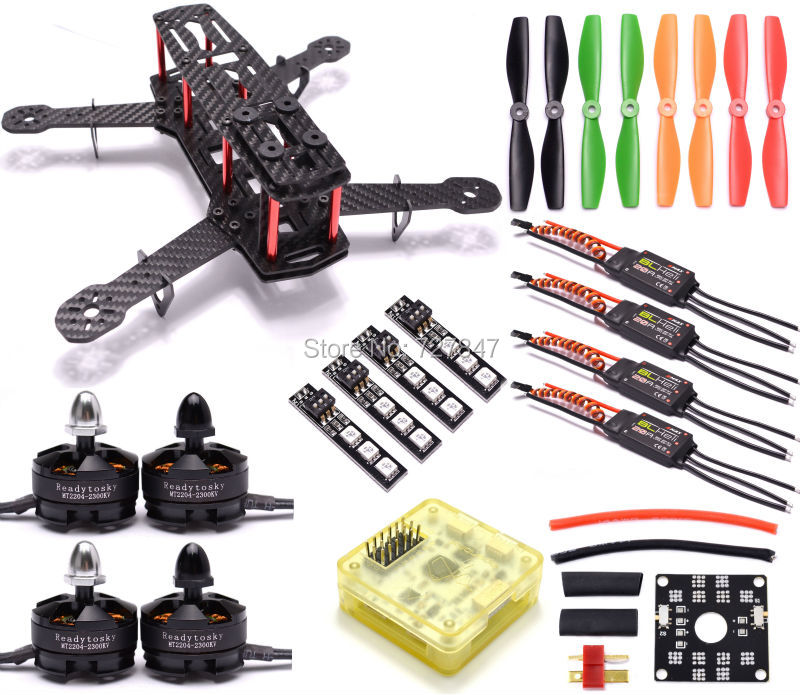 Mini ZMR250 Carbon Fiber Quadcopter CC3D EVO Control MT2204 2300kv Motor Emax BLHeli firmware 20A ESC 5045 Prop LED Lights Board carbon fiber zmr250 c250 quadcopter