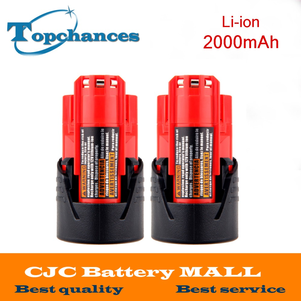 High Quality 2PCS 12V 2000mAh Li Ion Replacement Power Tool Battery for Milwaukee M12 C12 BX