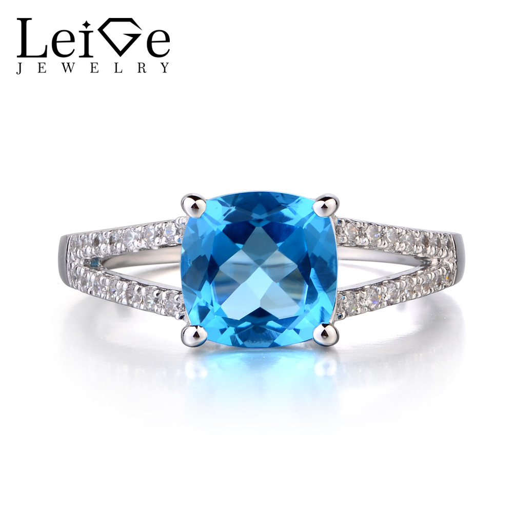 Leige Jewelry Swiss Blue Topaz 925 Sterling Silver Ring Cushion Cut Fine Gemstone November Birthstone Promise Rings for Women leige jewelry swiss blue topaz ring oval shaped engagement promise rings for women 925 sterling silver blue gemstone jewelry