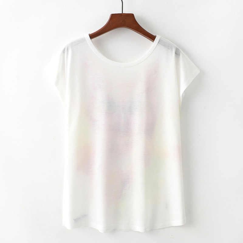 2019 летняя новая милая женская футболка с короткими рукавами и принтом, модная женская одежда