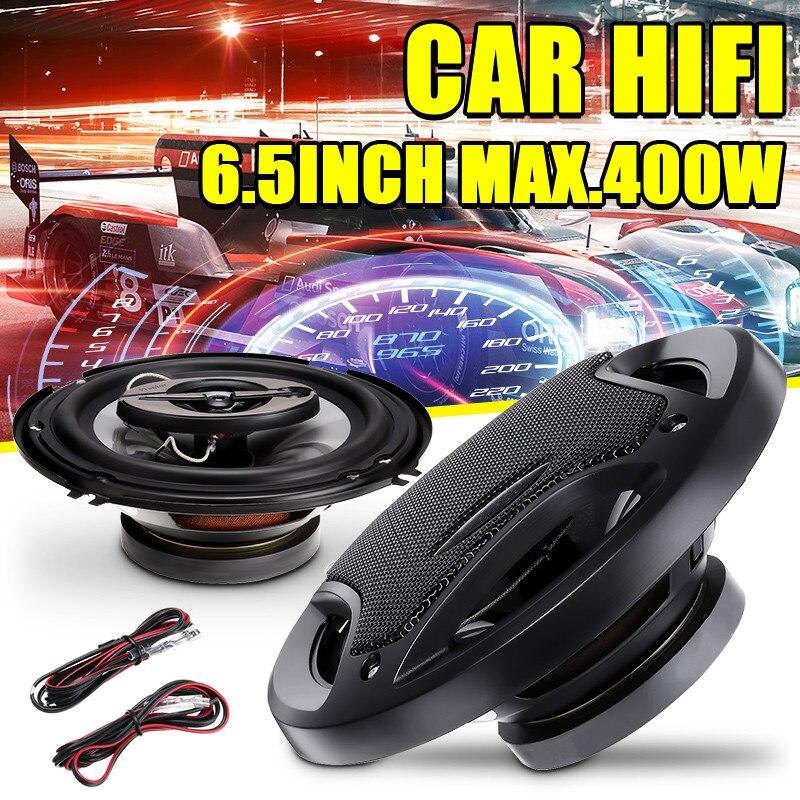 2 uds 6,5 pulgadas 400W 3 vías altavoz de coche y Subwoofer HIFI altavoz de coche trasero/puerta delantera Audio música estéreo sistema de altavoces coxiales