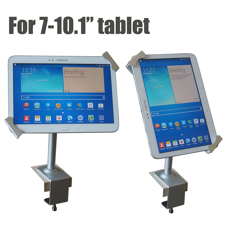 Lockable tablet security stand metalli Ipad lock display case flexible holder kiosk desktop anti theft clamp for 7-10.1