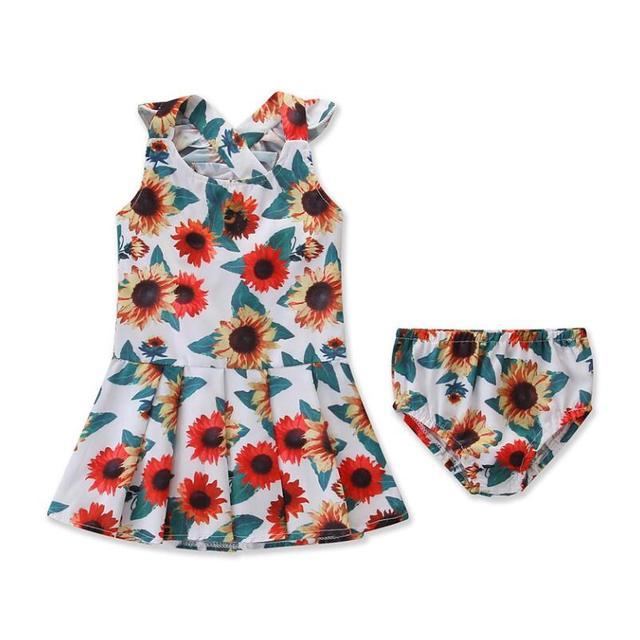 חמניות שמלה עבור בנות אלגנטי לילדים ילדי תינוק טוס שרוול חמניות נסיכה מודפסת + מכנסיים סט
