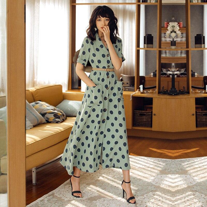 2019 VERRAGEE femmes été nouveau Long imprimé Dot robe Vintage Maxi robe - 2