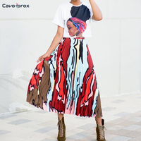 Women Casual Print Pleated Mid Calf Skirt Loose Street Wear Fashion Abstract Pattern High Waist Plus Size Skirt
