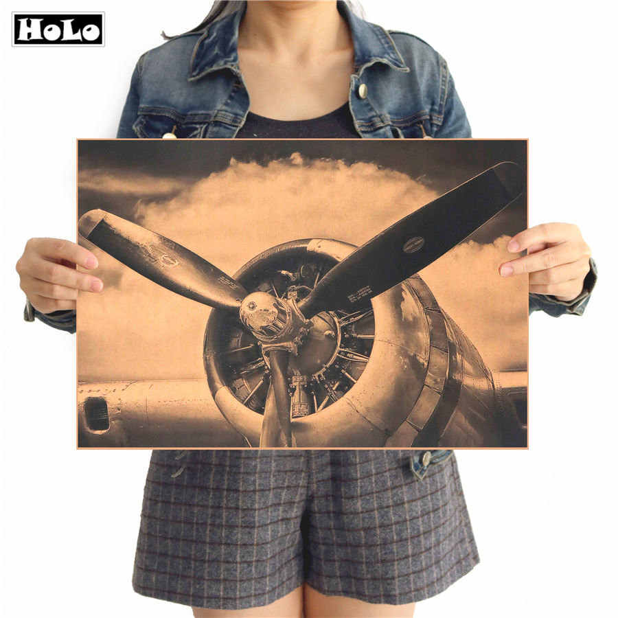 Hot sale detailed parts aircraft structures vintage poster retro paper wall sticker for living room cafe bar pub NYZ01 42x30cm