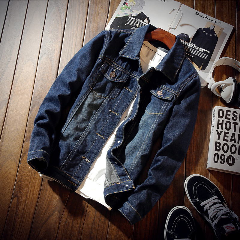 2018 Slim Denim Jacket Men's Jacket Dark Blue Fash...