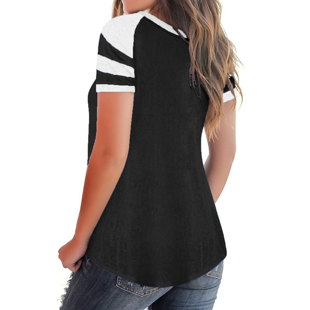 New Striped T Shirts Summer Casual Tshirt V Neck Patchwork Basic Tops Femme 2018 Girls Sweet Women Tee Shirt Oversized Xxl in T Shirts from Women 39 s Clothing