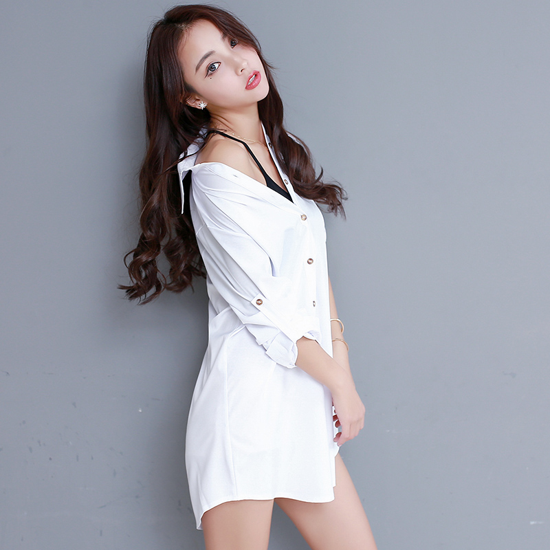 2018 New Womens Blouse Sexy Tops Plus Size Xxl Loose Long Sleeve Long Design Female White Shirt Office Ladies Elegant Work Wear