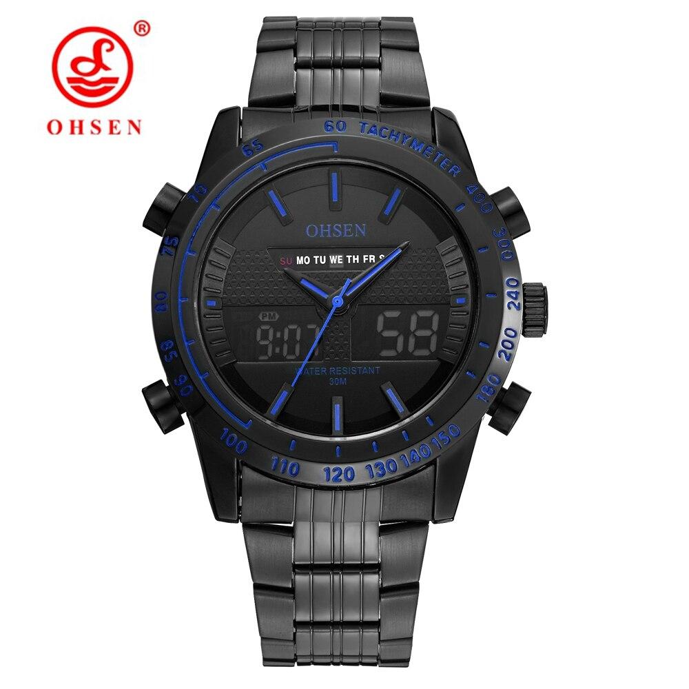 Оригинальные Модные OHSEN спортивные наручные часы армия часы Для мужчин Водонепроницаемый светодиодный полный Сталь полосный цифровой квар...