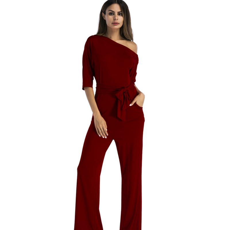 2017 Women red rompers Jumpsuit Slash Neck Off Shoulder Elastic milk silk Wide Legs macacao Femme plus size sexy tunic overalls