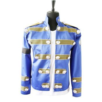 Rare Fashion MJ Michael Jackson Men's England Jacket Similar Military Punk Retro Bule Button Casaul Halloween Outwear In 1995s