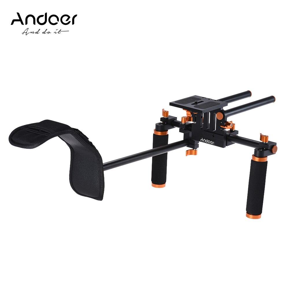 Andoer DSLR Camera Camcorder Shoulder Rig Handheld Stabilizer Film Making System w 15mm Rail Rod for