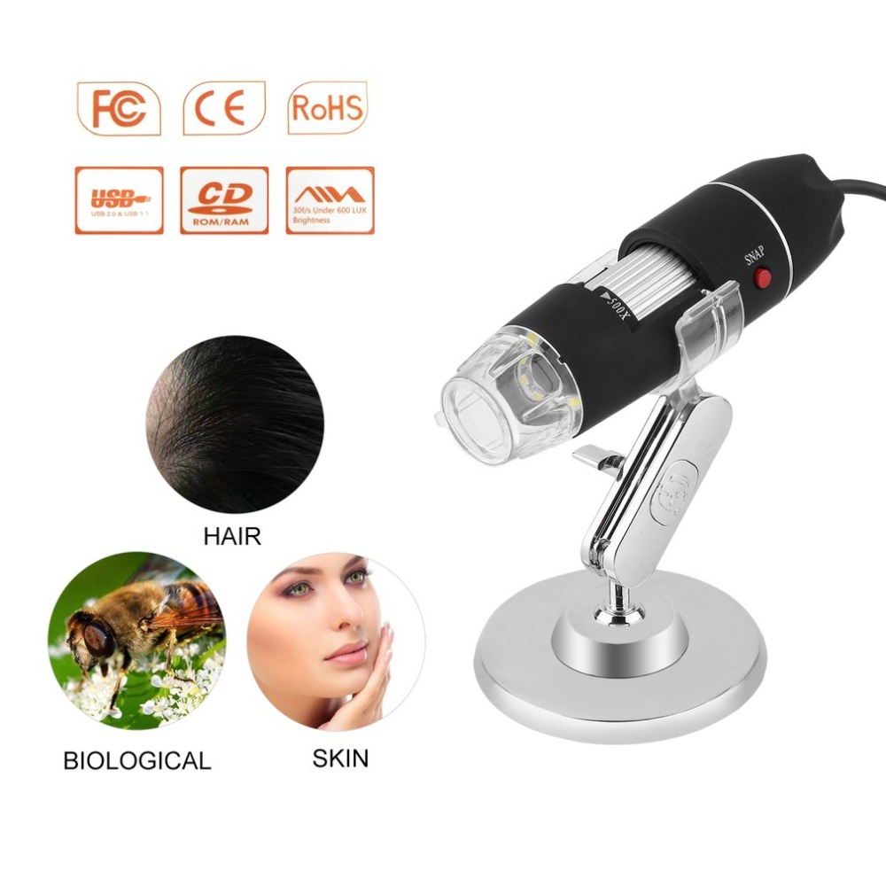 Black Practical Electronics 5MP USB 8 LED Digital Camera Microscope Endoscope Magnifier 50X~500X Magnification Measure