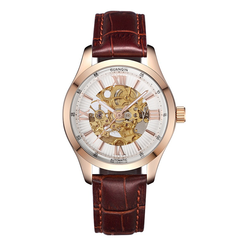 Оригинальные GUANQIN Новый плавательный автоматические часы Для мужчин Уникальный дизайн Для мужчин часы 100 м Водонепроницаемый световой сапф