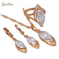 Christmas White Cubic Zirconia Jewelry Sets Pendants Ring Earring 18K Yellow Gold Plated S080
