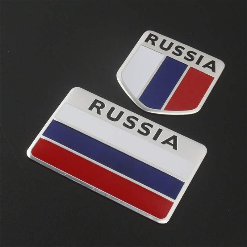 Federacja rosyjska flaga narodowa naklejki dla patriotyczne kierowców pojazdów ze stopu aluminium ze stopu aluminium rosja flagi naklejki samochodowe