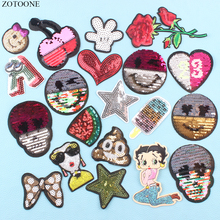 ZOTOONE Personality Skull Expression Patches for Clothes Reversible Sequin Patch Clothing Application Stickers Garment Badges E