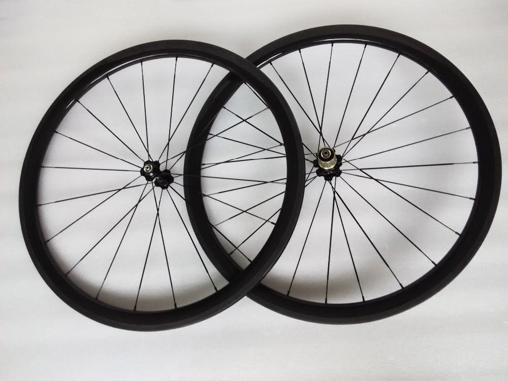 carbon wheels clincher 38mm 700C road bike clincher 38mm 3k glossy  black wheelset (7)