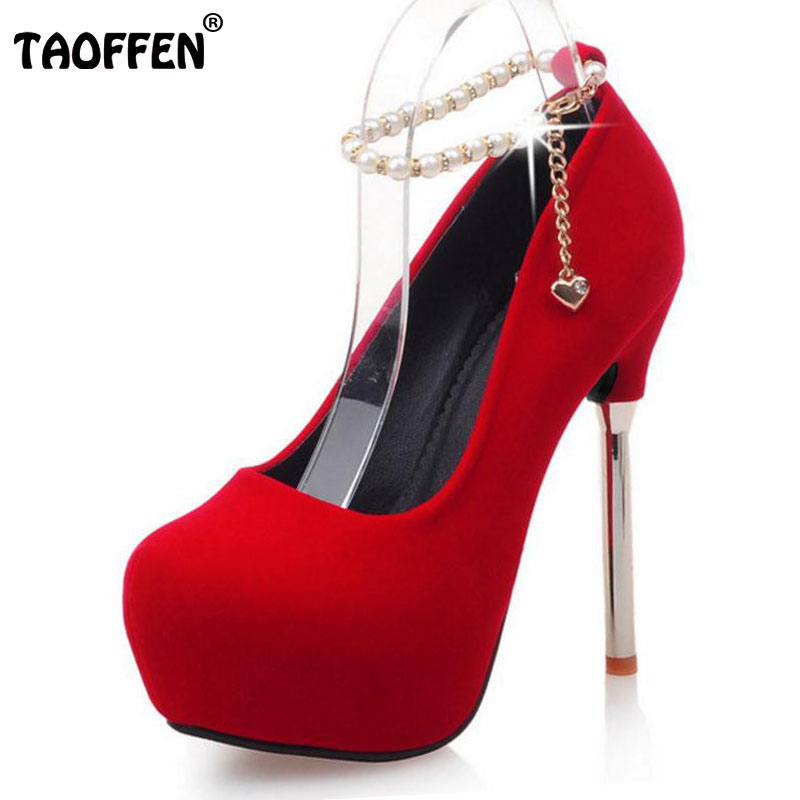TAOFFEN woman beading thin high heel platform shoes sexy wedding ladies pumps ankle strap heeled footwear size 33-42 PA00003 taoffen women high heel shoes woman sexy transparent heels sandals ladies ankle strap party wedding shoes footwear size 31 47