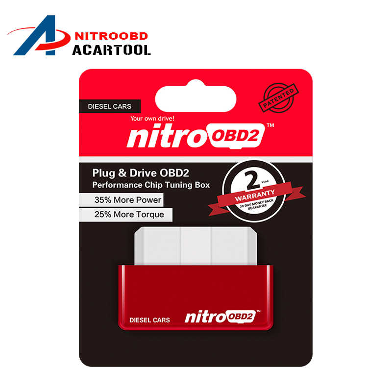 NitroOBD2 Chip Tuning Box Plug & Drive OBD2 performance Diesel Car more Power more Torque Nitro OBD Diesel Box 200km Scan Tool