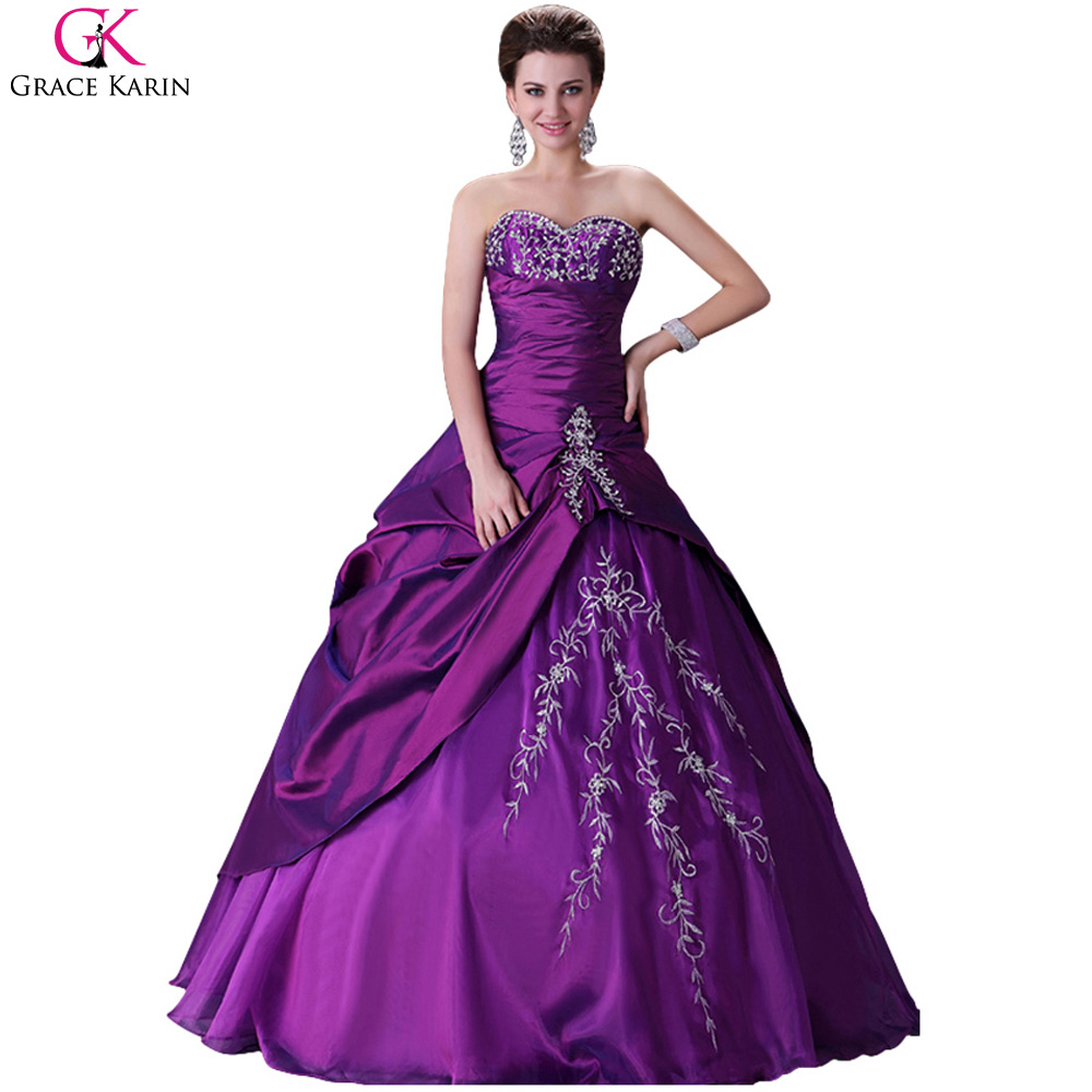 Online get cheap purple wedding gowns for Plus size wedding dresses size 32 and up