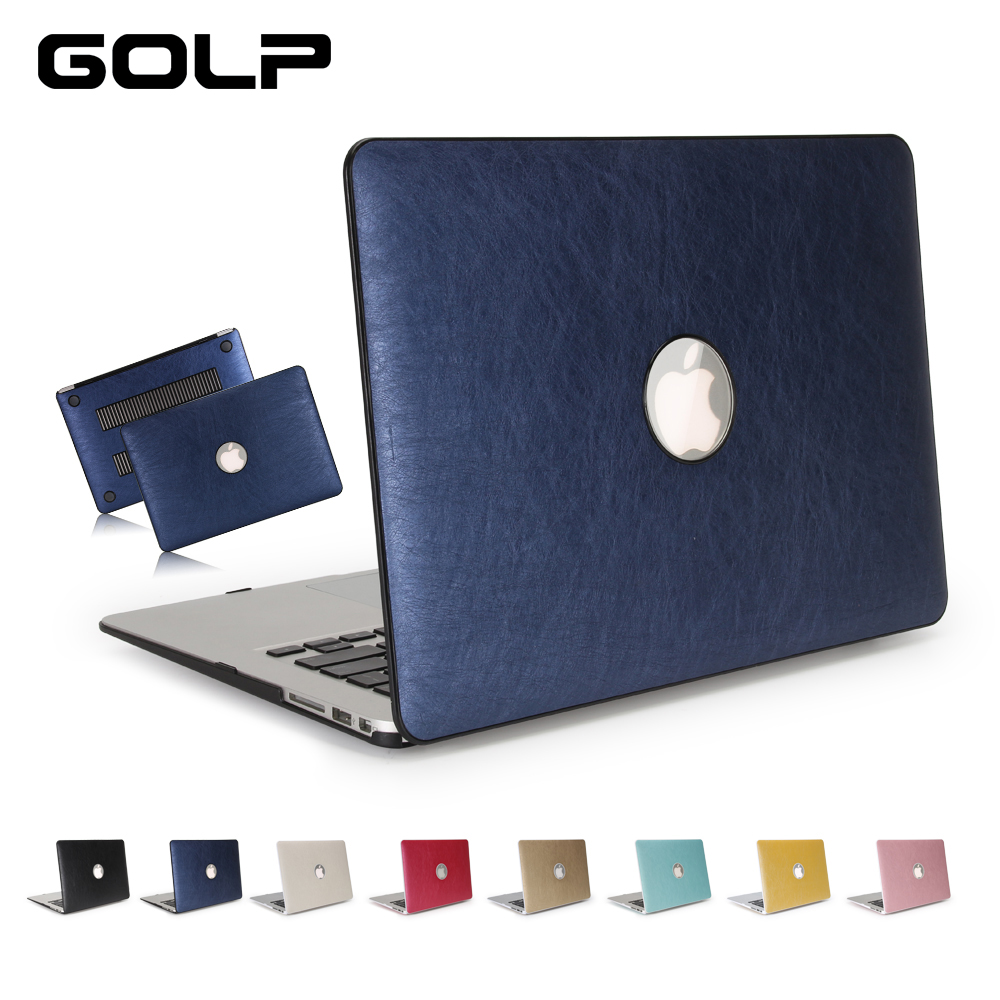 GOLP PU Leather Case For Macbook Air 13 11 Pro 13 15 Retina 12 Laptop Case Cover for Macbook Pro 15 13 with Touch Bar new leather sleeve protector bag stand cover for macbook air 13 pro retina 11 12 13 15 laptop case for macbook pro 13 touch bar
