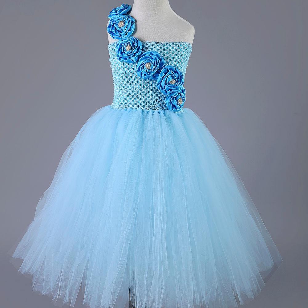 ФОТО Cute Blue Flower Girls Dresses for Wedding Rose Pearls Flower Kids Tutu Dresses Pageant Party Birthday Kids Clothing