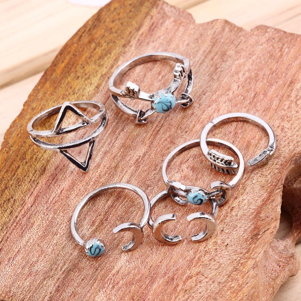100% Brand <font><b>New</b></font> 6pcs/pack Boho Ethnic Gypsy <font><b>Mexico</b></font> <font><b>Moon</b></font> Sun Turquoise Jewelry Rings Retro Rings