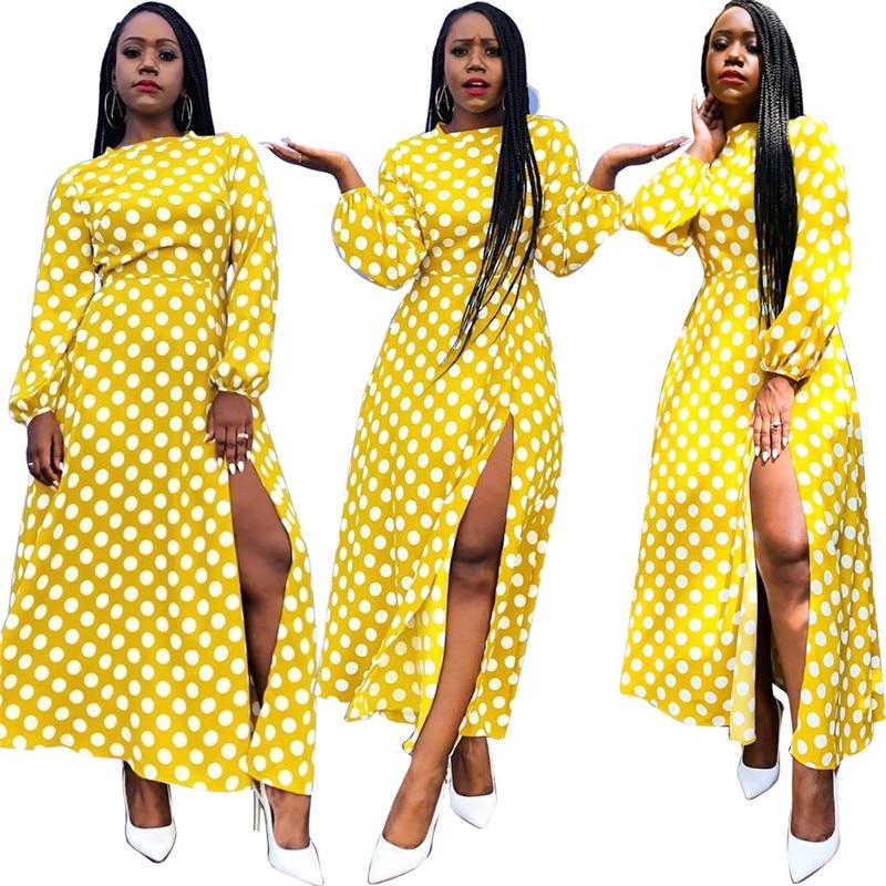 2018 Women Summer Sexy Dot Dress Casual Vintage Elegant Fashion Maxi Yellow Plus Size Dress