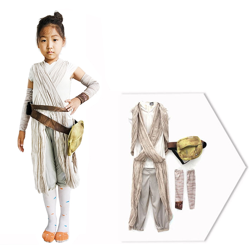 c40abc69448 US $40.9 |Aliexpress.com : Buy Kids Girl Star Wars The Force Awakens  Cosplay Carnival Party Costume Star Wars Rey Costume from Reliable star  wars rey ...