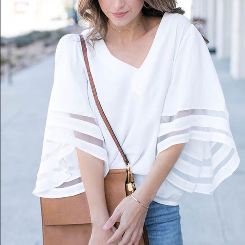 HTB11P7Fc56guuRjy0Fmq6y0DXXaB - Summer streetwear style women cute chiffon blouses casual flare sleeve shirts white loose tops patchwork mesh shirts