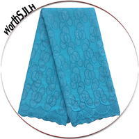 Stones African Fabric Lace Bridal Swiss Lace Fabric 2017 High Quality Lace Turquoise Blue Chiffion Embroidery Lace Fabric 2018