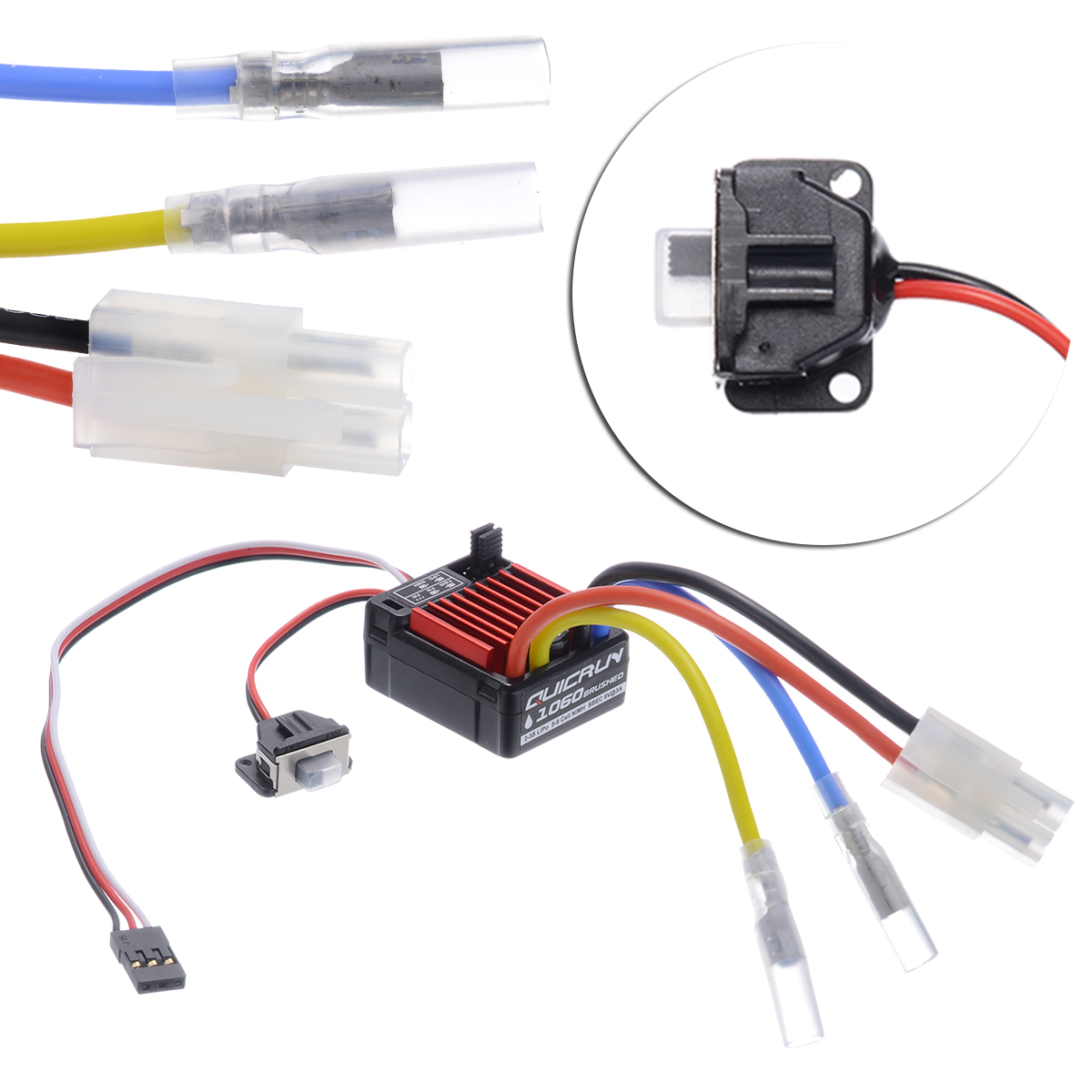 1 Set High Quality 1060 60A Waterproof Brushed ESC Electronic Speed Controller For 1:10 RC Car Hot Sales