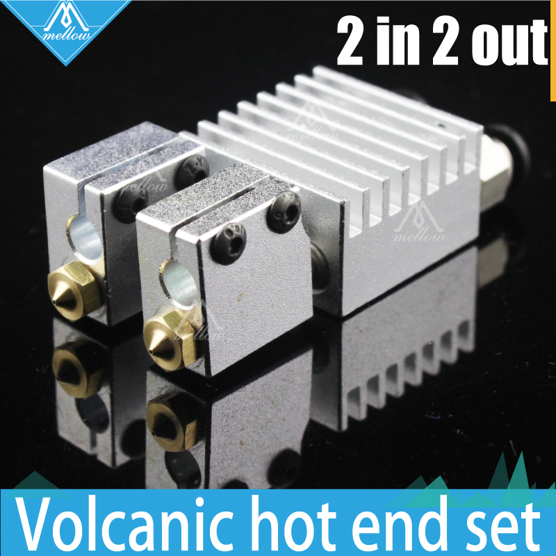 Chaud! extrudeuse double tête tout métal/PTFE chimère volcan hotend-multi-extrusion, buses 0.4 MM/0.6 MM/0.8 MM/1.0mm, imprimante 3D 1.75mm