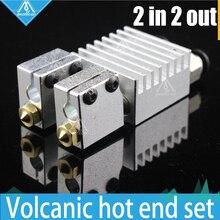 ГОРЯЧАЯ! Все-металл/PTFE Химера Вулкан Hotend-Мульти-экструзии Двойной Головкой Экструдера, 0.4 ММ/0.6 ММ/0.8 ММ/1.0 мм Сопла, 1.75 мм 3D принтер