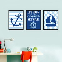 Nautical Sailboat Anchor Nursery Canvas Painting Dream Blue Wall Art Poster Print Pictures for Kids Bedroom Home Decor No Frame