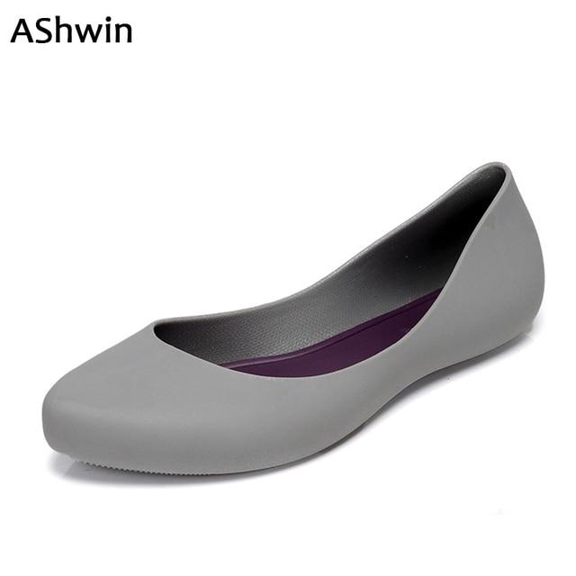 AShwin Frauen Rainshoes Gelee Farbe Qualität Gummi Schuhe Wohnungen  Wasserdichte Soft Garten Schuhe Watershoes Für Strand