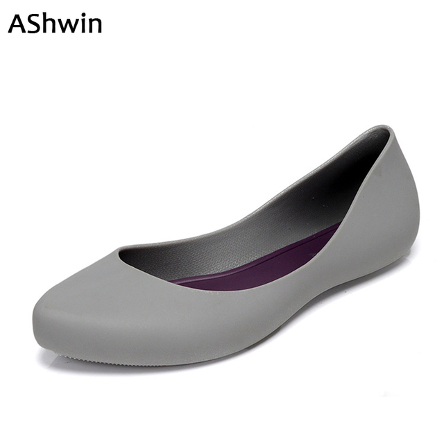 741091412 AShwin women rainshoes jelly color quality rubber shoes flats waterproof  soft garden shoes watershoes for beach kitchen labor
